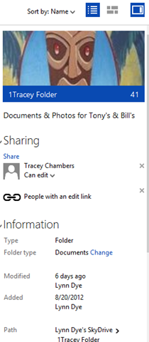 view of shared folder in skydrive
