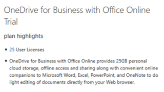 OneDrive for business signup