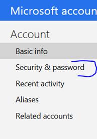 outlook.com security & password