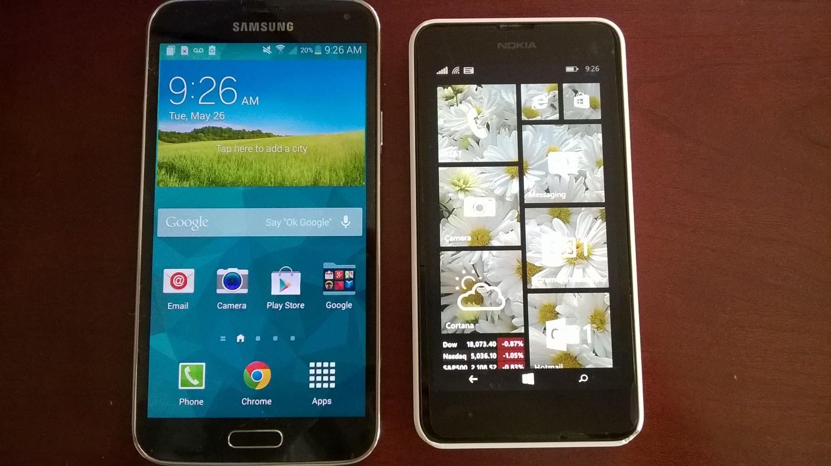 windows phone vs. galaxy s5