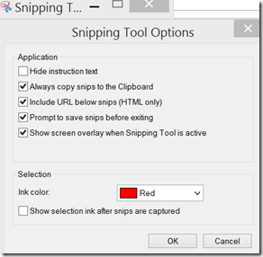 snipping tool options