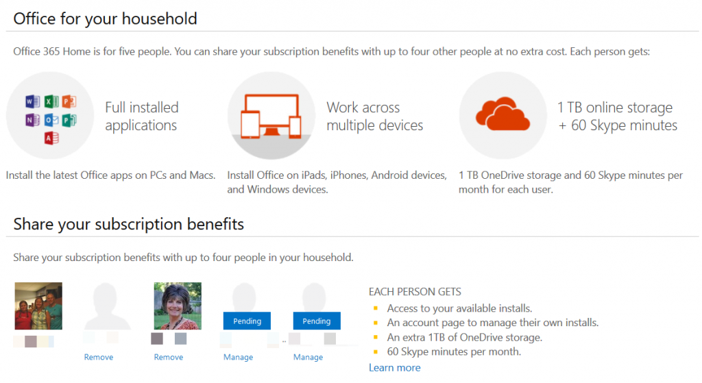 office 365 home sharing