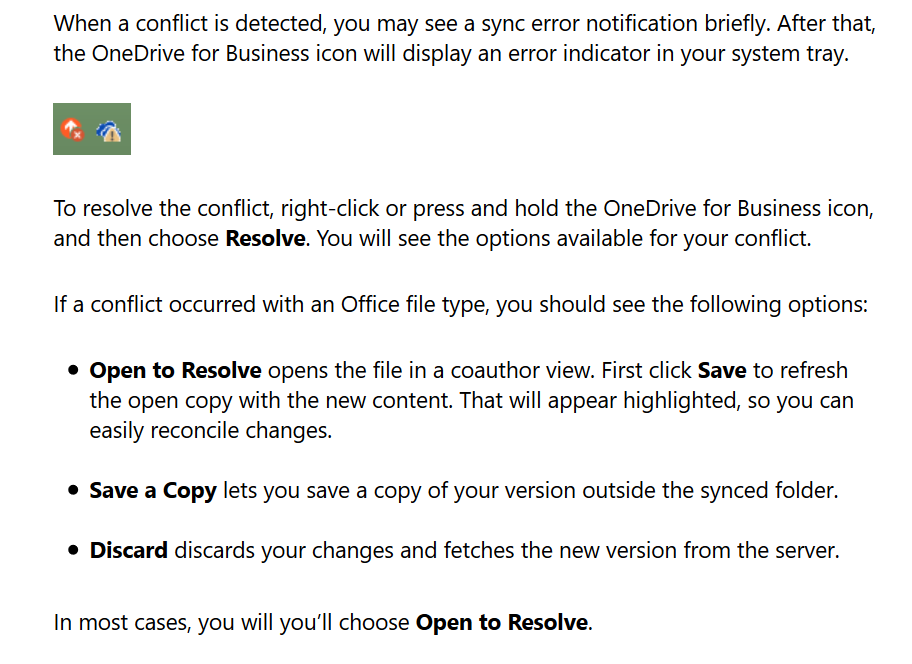 resolve a file conflict messge with onedrive