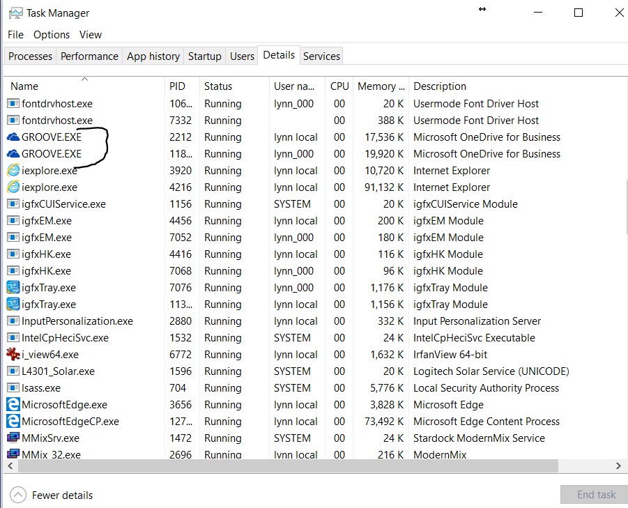 Task Manager-showing onedrive sync engine running