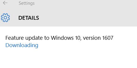Windows 10 anniversary update message