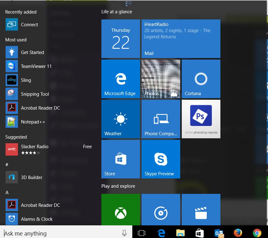 windows 10 anniversary new start menu