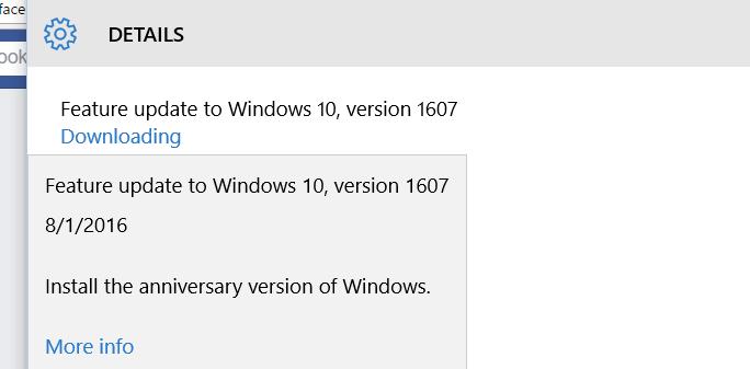 installing the windows 10 anniversary update