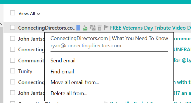 outlook.com easy way to manage email from senders