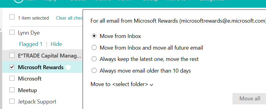 sweep feature in outlook.com