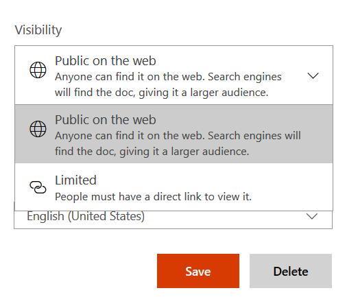 visibility controls for docs.com