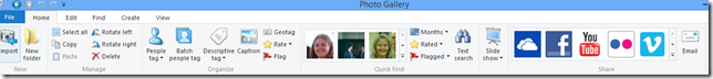 windows live photo gallery toolbar