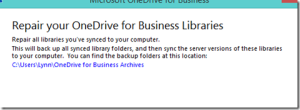 Repair OneDrive for Business