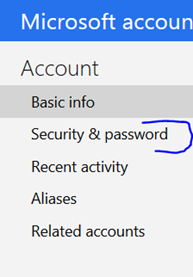 outlook.com security & password