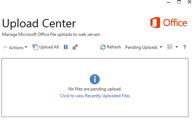 office 365 upload indicator
