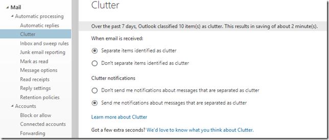 change clutter settings