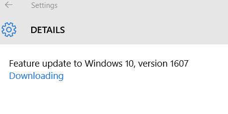 Windows 10 anniversary update message