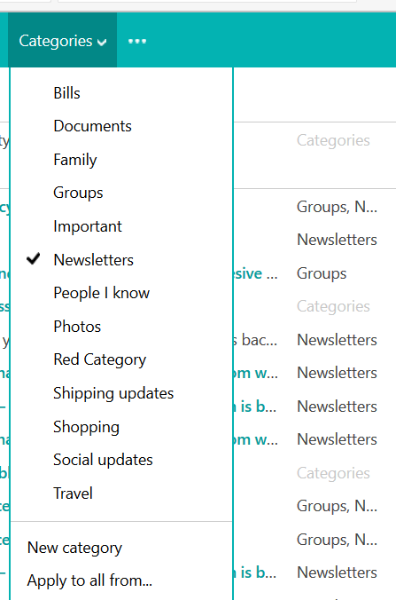 outlook.com categorize email