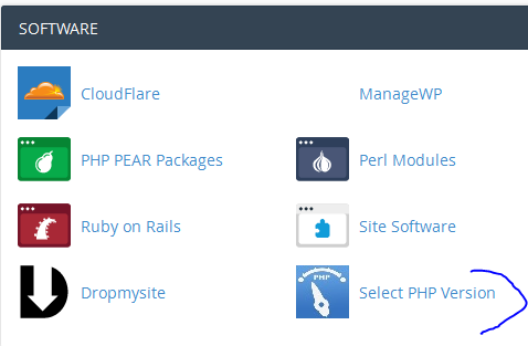 php selector in cpanel