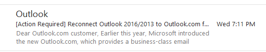 reconnect outlook 2016/2013 email