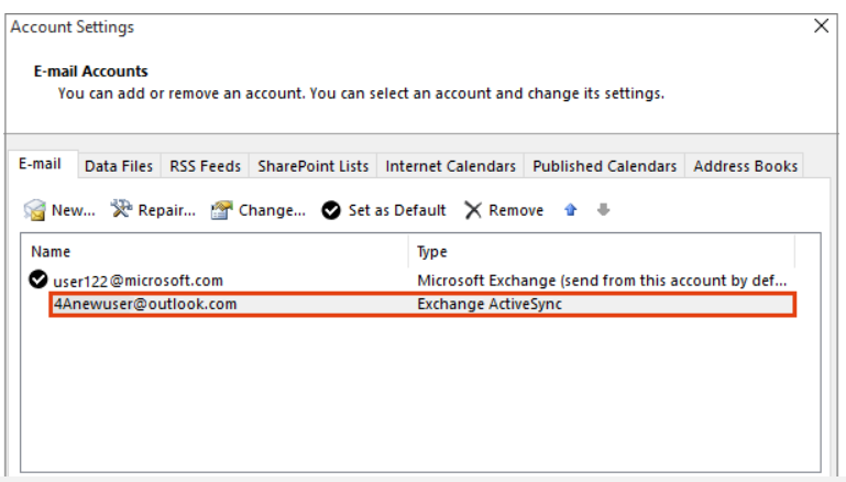 how to remove an outlook account