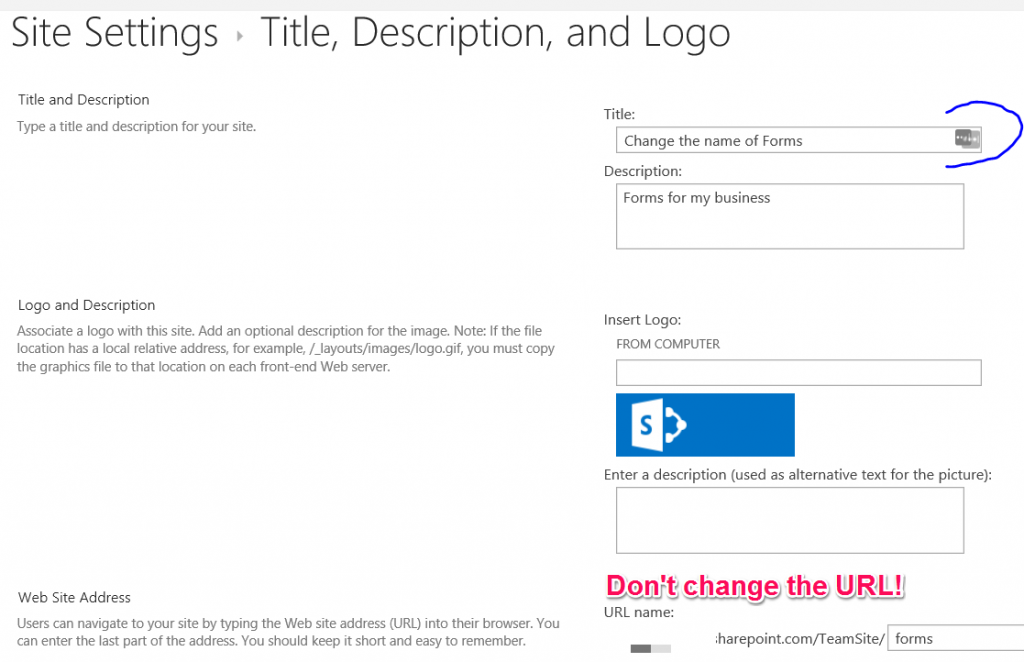 How to change the name of your SharePoint site