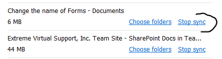 Stop Sync of SharePoint Site