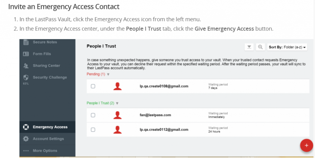 lastpass setup for emergency access