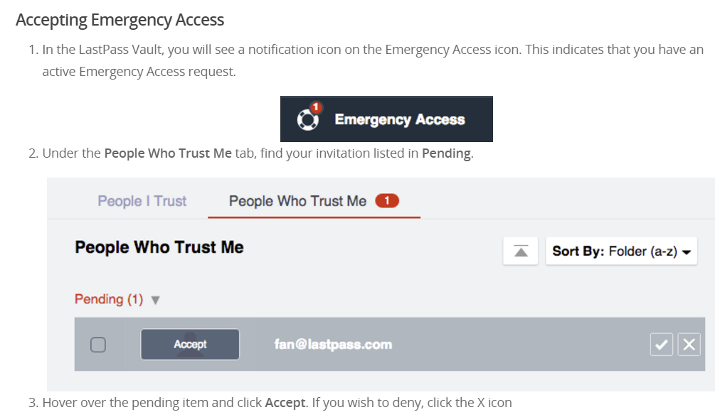 instructions for accepting emergency access with lastpass