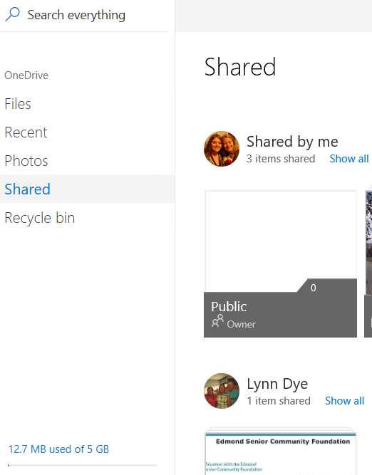 Shared view of OneDrive