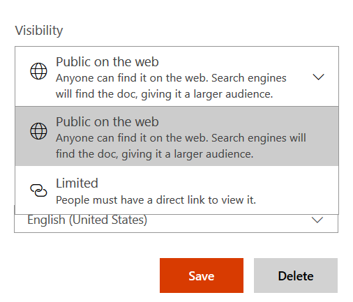 visibility controls for docs.com
