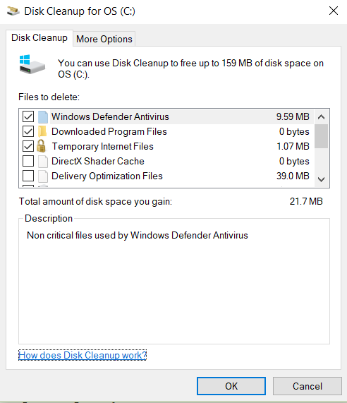 Windows disk cleanup screen