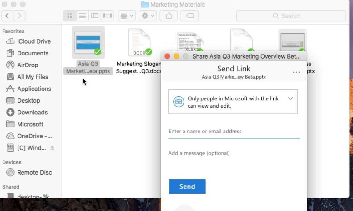 OneDrive sharing command for Mac computers