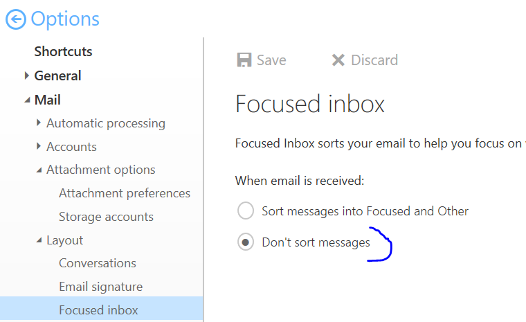 O365 focused inbox screen turn on or off