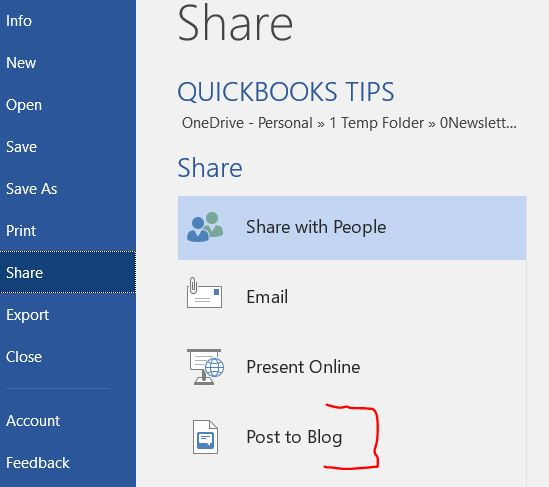 screenshot of Word and the Share section