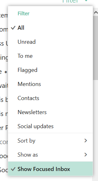 image of how to turn off the focused inbox in Outlook