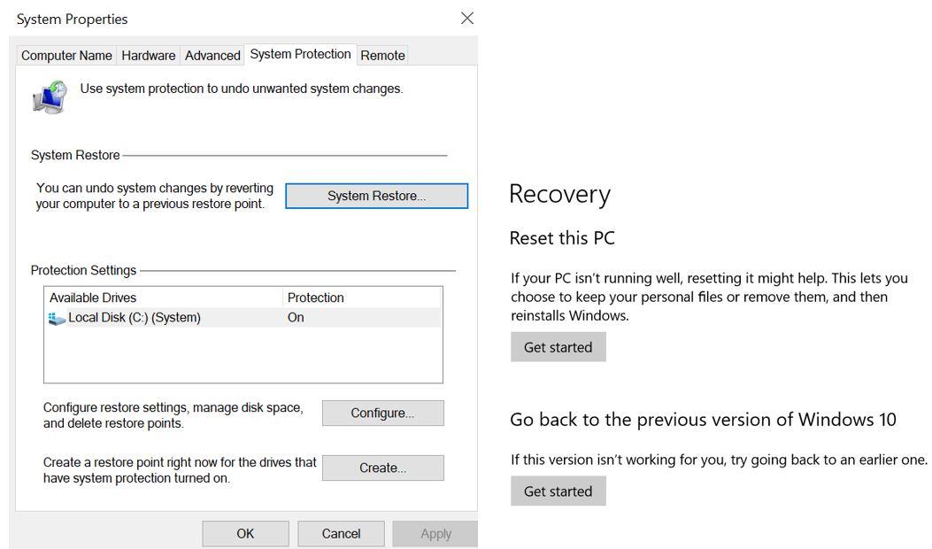 System Restore screen & Windows Rollback screen