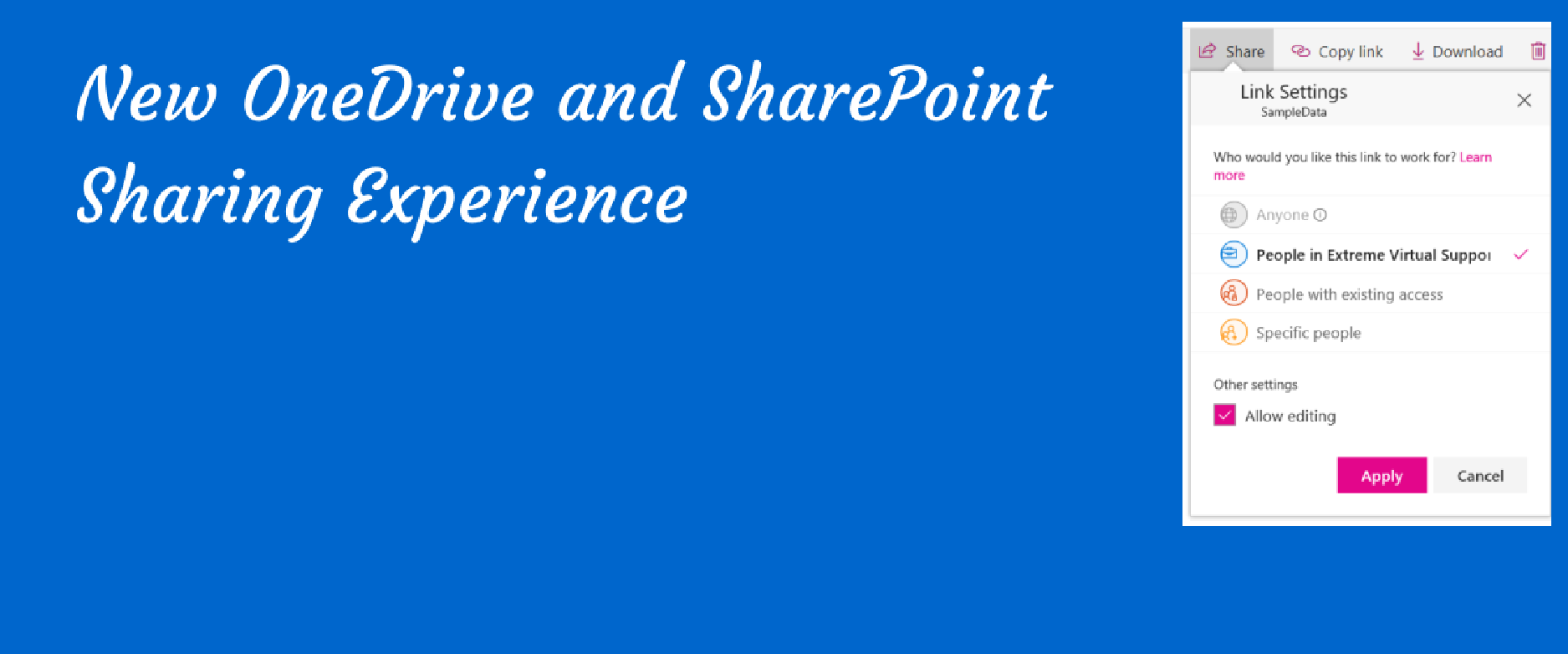 OneDrive and SharePoint new sharing experience