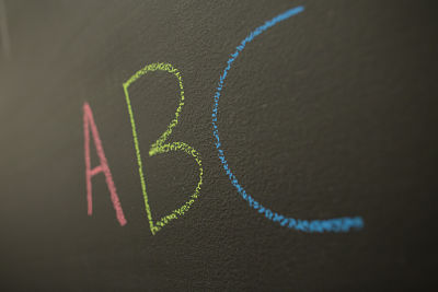chalkboard with letters A, B C