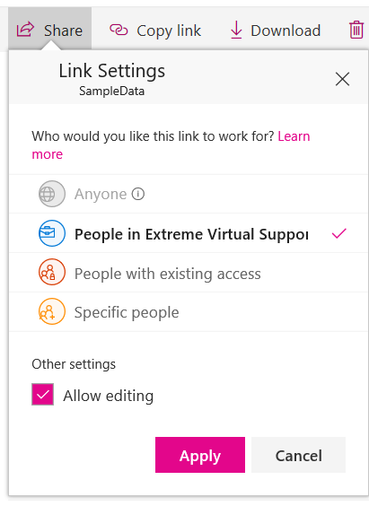 sharing box for onedrive-getting a link