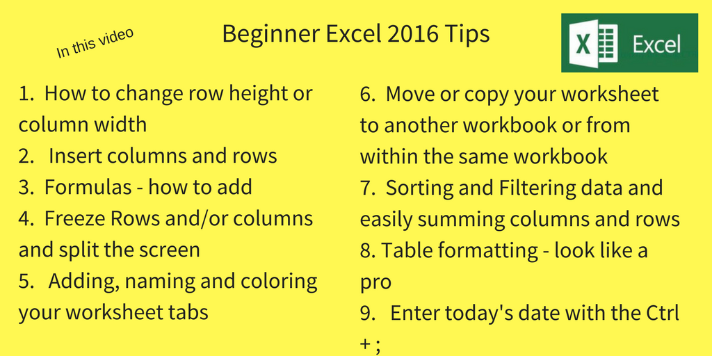 9 beginner microsoft excel tips