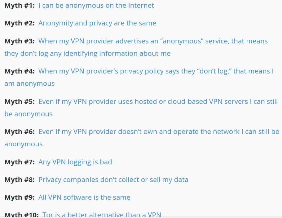 10 Myths of what a VPN can do