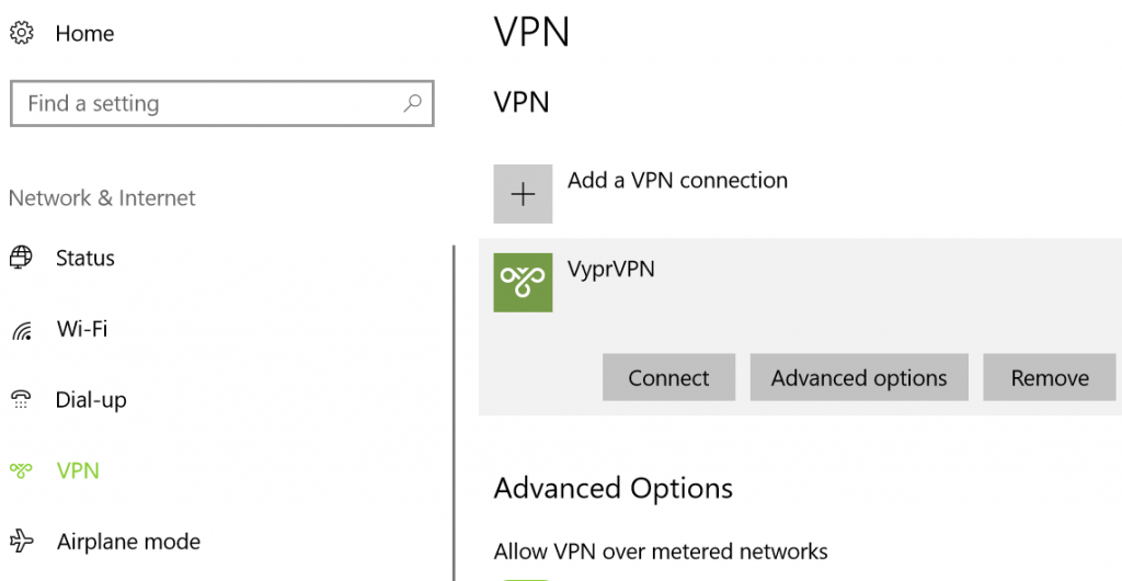VPN settings in Windows 10 control panel