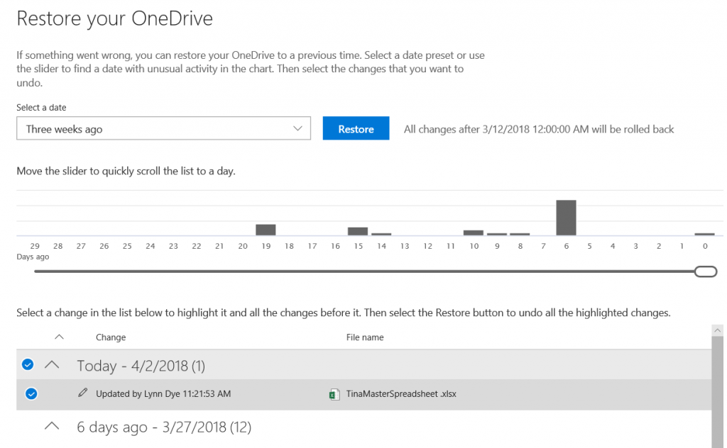 OneDrive For Business Restore screenshot
