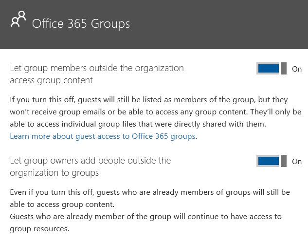 Office 365 Group settings to allow guests access to the right files