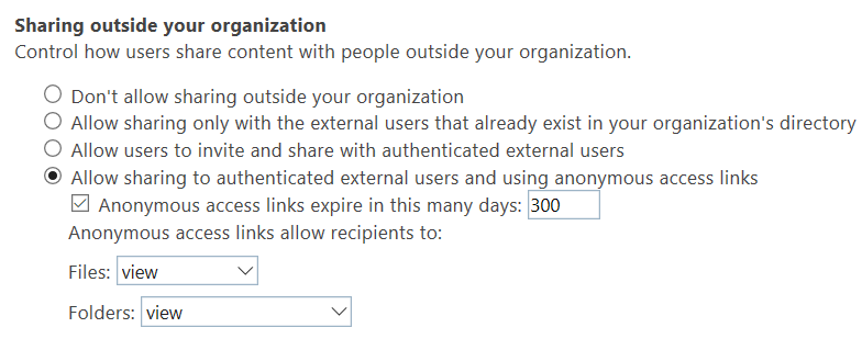 This is the type of sharing setting in SharePoint