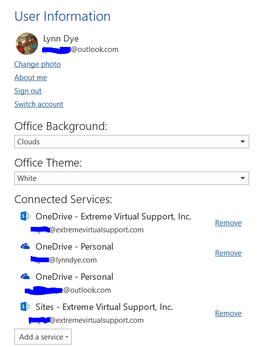 Backstage View of Word, looking at O365 connected services