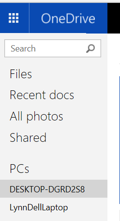 the Hyperlink to select OneDrive fetch from a PC