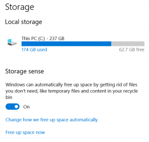 Storage Sense screen