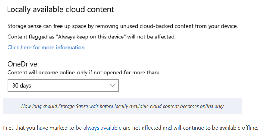 storage sense manages cloud content