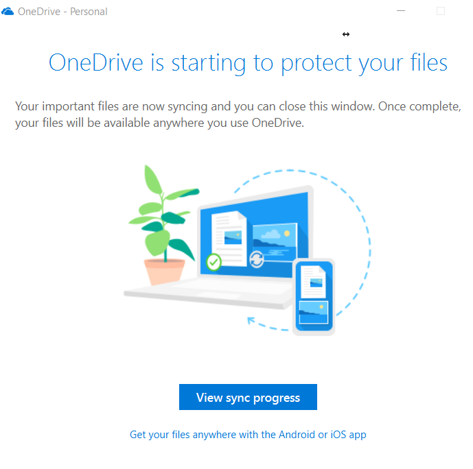 OneDrive folder protection sync status
